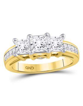 14kt Yellow Gold Womens Princess Diamond 3-stone Bridal Wedding Engagement Ring 2.00 Cttw