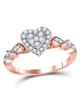 14kt Rose Gold Womens Round Diamond Heart Cluster Ring 1/3 Cttw