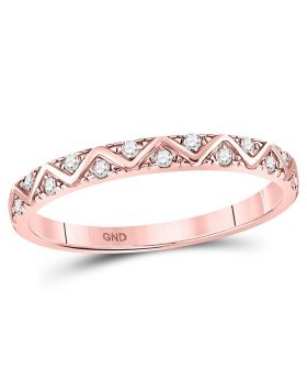 10kt Rose Gold Womens Round Diamond Zigzag Stackable Band Ring 1/10 Cttw