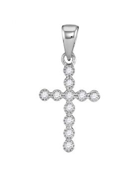 14kt White Gold Womens Round Diamond Cross Faith Pendant 1/10 Cttw
