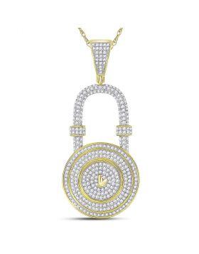 10kt Yellow Gold Unisex Round Diamond Bank Padlock Charm Pendant 7/8 Cttw