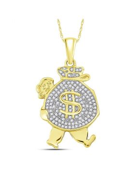 10kt Yellow Gold Unisex Round Diamond Money Bag Man Charm Pendant 1/4 Cttw