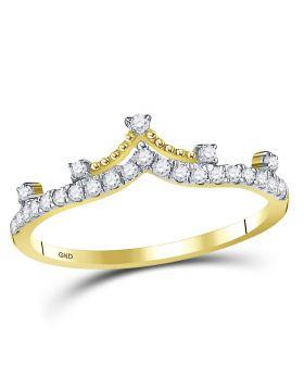 10kt Yellow Gold Womens Round Diamond Crown Tiara Fashion Band Ring 1/5 Cttw