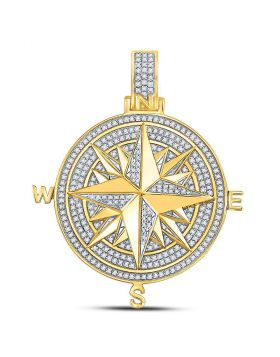 10kt Yellow Gold Unisex Round Diamond Compass Rose Charm Pendant 1/2 Cttw