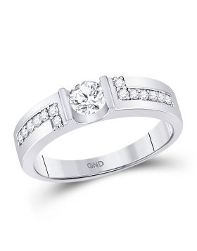 14kt White Gold Unisex Round Diamond Solitaire Wedding Ring 3/4 Cttw