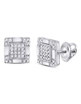 10kt White Gold Unisex Round Diamond Square Cluster Stud Earrings 1/6 Cttw