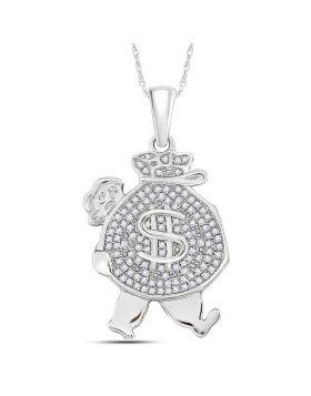 10kt White Gold Unisex Round Diamond Money Bag Man Charm Pendant 1/4 Cttw