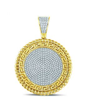 10kt Yellow Gold Unisex Round Diamond Greek Key Circle Charm Pendant 5/8 Cttw