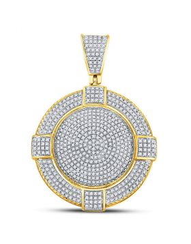 10kt Yellow Gold Unisex Round Diamond Circle Frame Medallion Charm Pendant 7/8 Cttw