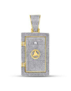 10kt Yellow Gold Unisex Round Diamond Bank Safe Vault Charm Pendant 1-1/3 Cttw