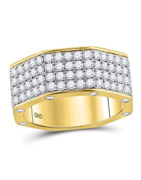 14kt Yellow Gold Unisex Round Diamond Octagon Nut Band Ring 2-3/4 Cttw