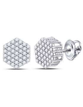 14kt White Gold Unisex Round Diamond Hexagon Cluster Stud Earrings 1.00 Cttw