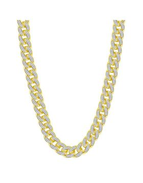 10kt Yellow Gold Unisex Round Diamond Cuban Link Chain Necklace 13-1/5 Cttw