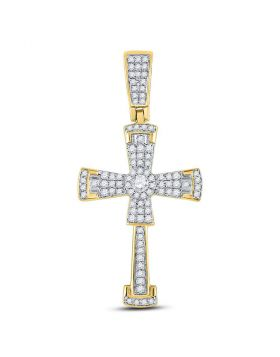 10kt Yellow Gold Unisex Round Diamond Flared Cross Crucifix Charm Pendant 1/2 Cttw