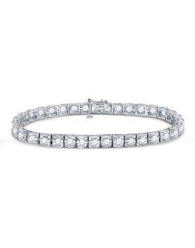 14kt White Gold Unisex Round Diamond Solitaire Tennis Bracelet 5.00 Cttw