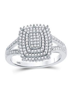 10kt White Gold Womens Round Diamond Rectangle Cluster Split-shank Ring 1/4 Cttw
