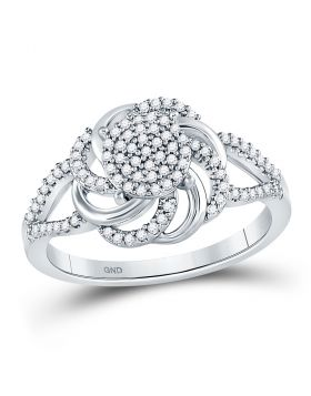 10kt White Gold Womens Round Diamond Flower Petals Cluster Ring 1/4 Cttw