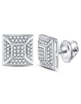 10kt White Gold Unisex Round Diamond Square Cluster Stud Earrings 1/5 Cttw
