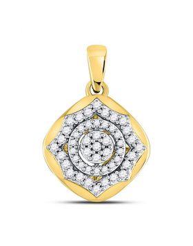 10kt Yellow Gold Womens Round Diamond Cluster Pendant 1/5 Cttw