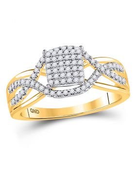 10kt Yellow Gold Womens Round Diamond Rectangle Twist Cluster Ring 1/4 Cttw