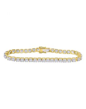 10kt Yellow Gold Unisex Round Diamond Cluster Tennis Fashion Bracelet 3-1/3 Cttw