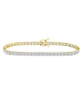 10kt Yellow Gold Unisex Round Diamond Link Solitaire Bracelet 4-3/4 Cttw