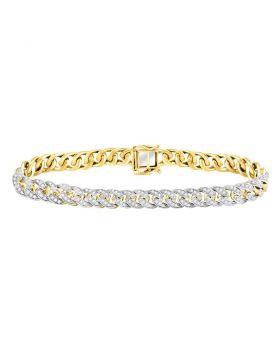 10kt Yellow Gold Unisex Round Diamond Cuban Link Choker Bracelet 2-5/8 Cttw