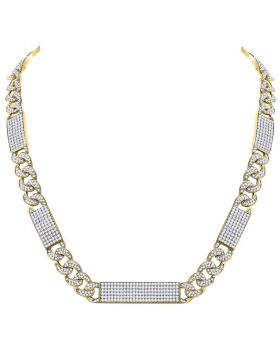 10kt Yellow Gold Unisex Round Diamond Cuban Link Rectangle Ice Necklace 24-1/2 Cttw