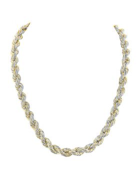 10kt Yellow Gold Unisex Round Diamond Rope Chain Necklace 19-7/8 Cttw