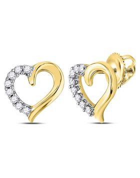 10kt Yellow Gold Womens Round Diamond Heart Stud Earrings 1/10 Cttw