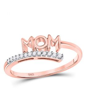 10kt Rose Gold Womens Round Diamond Mom Mother Bypass Band Ring 1/12 Cttw