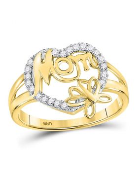 10kt Yellow Gold Womens Round Diamond Mom Mother Heart Butterfly Ring 1/6 Cttw