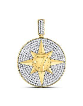 10kt Yellow Gold Unisex Round Diamond Compass Rose Lucky 7 Charm Pendant 2-3/8 Cttw