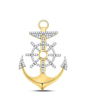 10kt Yellow Gold Unisex Round Diamond Anchor Wheel Nautical Charm Pendant 1-1/4 Cttw