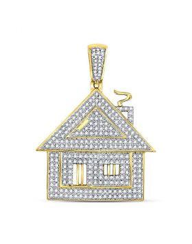 10kt Yellow Gold Unisex Round Diamond Trap House Charm Pendant 3/4 Cttw