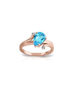 1.51 Carat 14K Rose Gold Lovelight Blue Topaz Diamond Ring