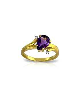 1.51 Carat 14K Gold The Way We Are Amethyst Diamond Ring