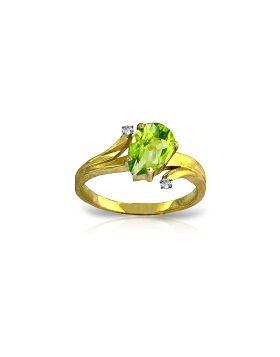1.51 Carat 14K Gold Not Complicated Peridot Diamond Ring