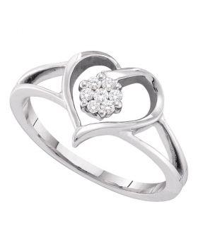 10kt White Gold Womens Round Diamond Heart Flower Cluster Ring 1/12 Cttw