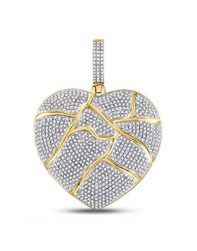 10kt Yellow Gold Unisex Round Diamond Fractured Broken Heart Charm Pendant 1-1/2 Cttw