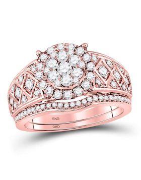 14kt Rose Gold Womens Round Diamond Vintage-inspired Bridal Wedding Engagement Ring Band Set 1.00 Cttw
