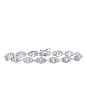 10kt White Gold Unisex Round Diamond Link Fashion Bracelet 1.00 Cttw