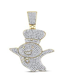 10kt Yellow Gold Unisex Round Diamond Doughboy Charm Pendant 1-1/3 Cttw