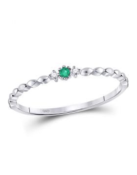 10kt White Gold Womens Round Emerald Solitaire Diamond-accent Stackable Ring .03 Cttw