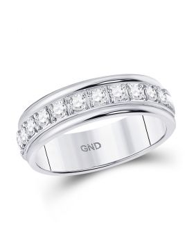 10kt White Gold Womens Round Diamond Single Row Band Ring 1/2 Cttw