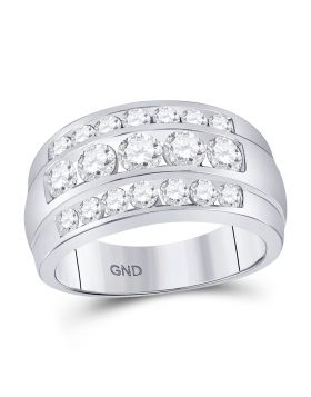 14kt White Gold Unisex Round Diamond Triple Row Band Ring 2-1/3 Cttw