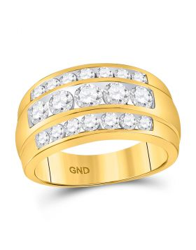 14kt Yellow Gold Unisex Round Diamond Triple Row Band Ring 2-1/3 Cttw