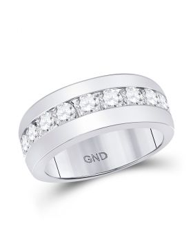 14kt White Gold Unisex Round Diamond Single Row Channel-set Band Ring 2.00 Cttw