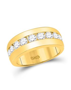 14kt Yellow Gold Unisex Round Diamond Single Row Channel-set Band Ring 2.00 Cttw