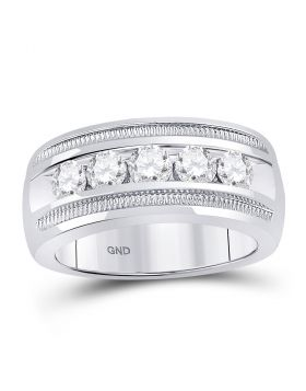 14kt White Gold Unisex Round Diamond Single Row 5-Stone Wedding Band Ring 1-1/2 Cttw